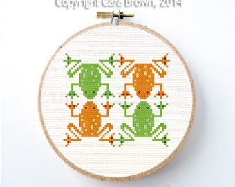 Tree Frog Cross Stitch Pattern Instant Download Easy Modern design cute needlepoint