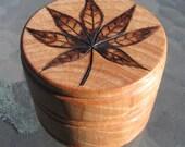 """Japanese Maple Leaf Pyrography Woodburning on 2 1/8"""" Diameter Round Box"""