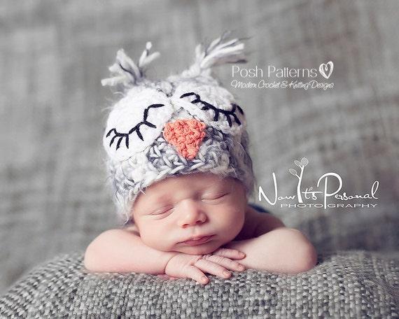 Crochet Pattern For Newborn Newsboy Hat : Crochet Hat PATTERN Easy Owl Baby Hat Crochet by PoshPatterns