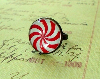 20% OFF -Red and white Christmas Peppermint Candy ring ,Sweet and cute  gift for her