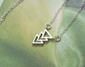 Triangle Necklace, Silver Necklace, sterling silver, rhodium, 3 triangles, chevron, summer, matte, simple, minimal, geometric