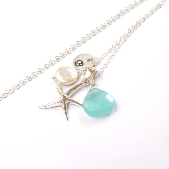 Sterling Silver Starfish Necklace, Tropical Necklace, Nautical Necklace, personalizedd, initial, gemstone, beach, chalcedony, blue, ocean