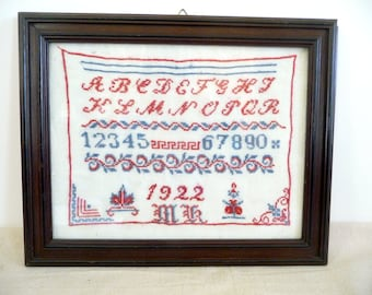 Antique Sampler 1922 Framed Embroidery Needlework German Redwork Red White Blue