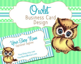 "Business Card Design Cute, Vintage Owl Pre-made Design ""Owlet"""