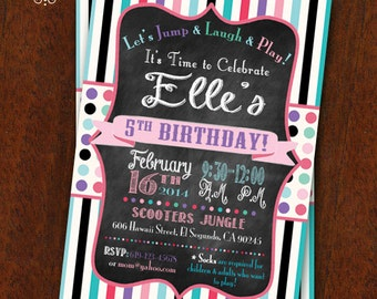 Girly Birthday Party Invitation Jump House Party Bounce House Invitation Customizable 5x7 Printable Boy Girl Combined Party