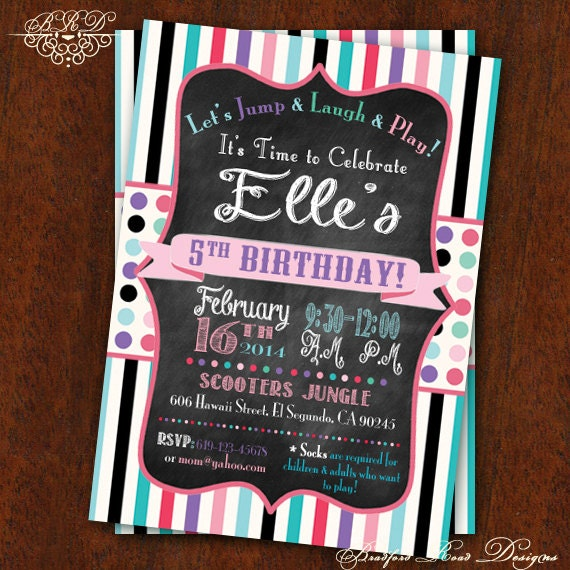 Girly Birthday Party Invitation Jump House Party Bounce House