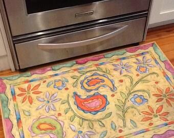 Paisley flower floorcloth 2 x 3 rug