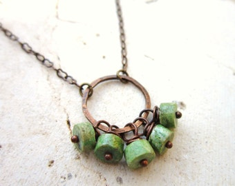 Genuine Turquoise Necklace.  Green Turquoise & Copper Circle Necklace. Turquoise Cluster Necklace. Turquoise Jewelry. Rustic Jewelry