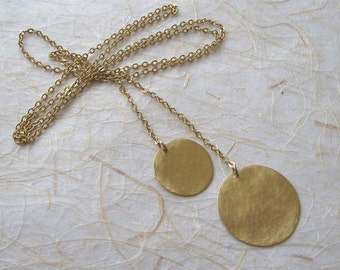 Gold disc long necklace , Gold disc lariat tie necklace , Gold hammered circles necklace , Handmade by Adi Yesod