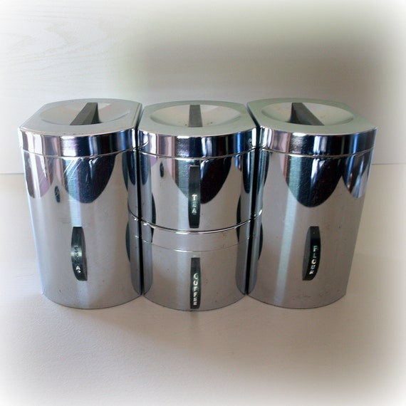Vintage Kitchen Canisters: 1950s RETRO ATOMIC KITCHEN Canisters / Kromex By