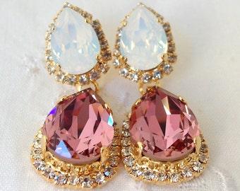 Antique pink and white opal Chandelier earrings, Bridal earrings, Gold Dangle earrings, Drop earrings, Weddings, Bridesmaids earrings