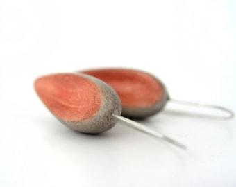 Dark salmon grey tan clay drop earrings, rustic earrings air dry clay medium long earrings minimal jewelry, clay earrings organic, sterling,