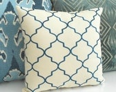 Peacock blue, dark teal, embroidered quatrefoil moroccan trellis decorative pillow cover
