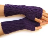 hand knitted purple arm warmers mittens pure merino long arm warmers purple mittens fingerless gloves warm soft arm warmers wrist warmers