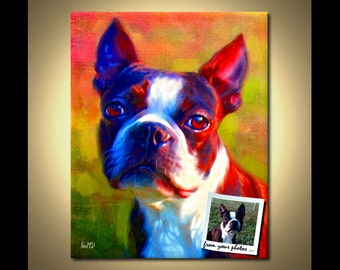 Boston Terrier Portrait | Custom Boston Terrier Portrait | Boston Terrier Painting From Your Photos | Boston Terrier Art by Iain McDonald