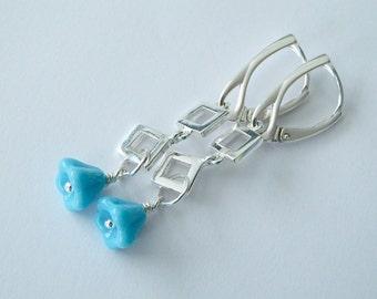 Turquoise Flower Earrings, Bell Drop Earrings, Sterling Silver Modern Dangle Earrings