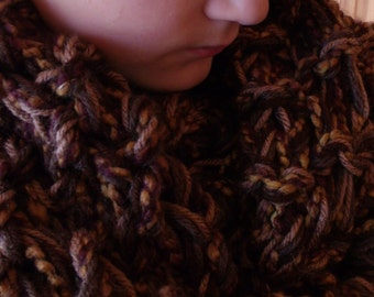 BROWN INFINITY SCARF chunky knit Accessory gold, tan, cocoa, burgundy, mustard, oak leaf, coffee