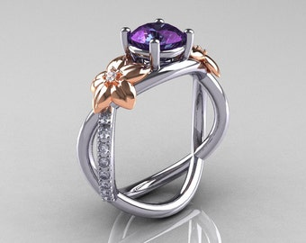 Nature Classic 14K Two-Tone Gold 2.0 CT Alexandrite Diamond Leaf and Vine Engagement Ring R180-14KTTWRGD2AL