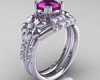 Nature Inspired 14K White Gold 1.0 Ct Amethyst Diamond Leaf and Vine Engagement Ring Wedding Band Set R245S-14KWGDAM