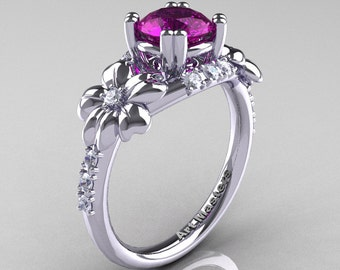 Nature Inspired 14K White Gold 1.0 Ct Amethyst Diamond Leaf and Vine Engagement Ring R245-14KWGDAM