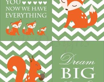 Fox Nursery Prints, Woodland Nursery Decor, Fox Nursery Decor, Boy Nursery Decor, Forrest Nursery Art - Four 8x10s