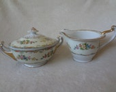 Vintage Imperial China Creamer and Sugar Valerie Pattern
