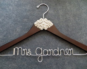 Personalized wedding dress hangers bridal hangers by for Wedding dress coat hanger