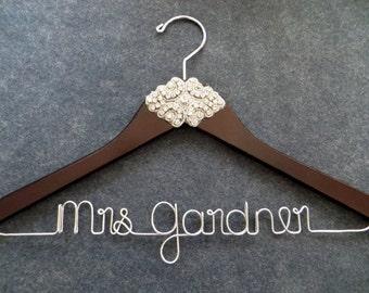 Rhinestone Wedding Dress Hanger, Crystal Bride Hanger, Elegant Bridal Hanger, Jeweled Hanger, Photography Prop, Shower Gift, Engagement Gift