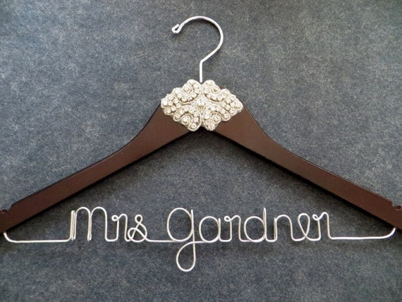 Rhinestone wedding dress hanger crystal bride hanger by for Personalized wire wedding dress hanger