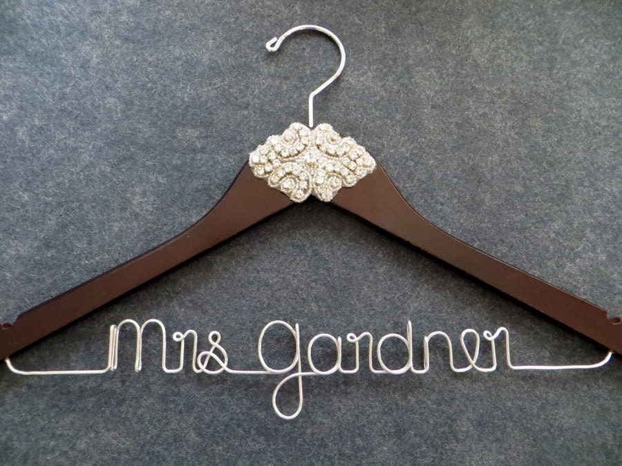 Rhinestone wedding dress hanger crystal bride hanger by for Personalised wedding dress hanger