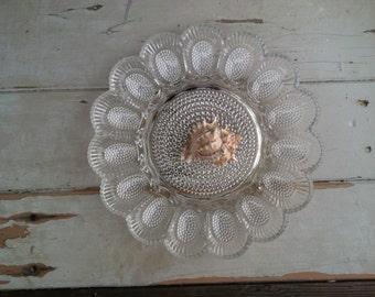 Retro Clear Glass Egg Plate - Vintage Pressed Glass Serving Dish, Easter Serving Ware, Party Platter, Vintage Easter Deviled Egg Glass Trays