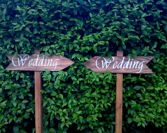 Personalised Wooden Wedding Sign, Reception Sign, Ceremony Sign, Party Sign, Directional Arrow Signs
