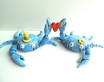 Blue Crabs In Love wedding cake topper for the Rustic Beach Wedding