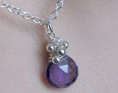 gemstone necklace, Purple Quartz, sterling silver, silver Purple Pendant, Small charm necklace real gemstones