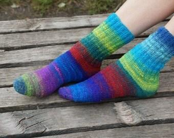 Hand knitted women wool Socks colorful stripes autumn fashion purple blue Noro