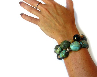 Chunky Genuine Turquoise Smokey Quartz Citrine Bracelet, 2 Strand ooak with Sterling beads and clasp 7 1/2""