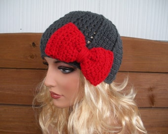 Womens Hat Crochet Hat Winter Fashion Accessories Women Beanie Hat Cloche Charcoal gray with Cherry Red Crochet Bow