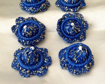6 Rare Vintage Raffia Millinary Embellinshments