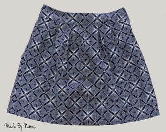 BLUE Shwe Shwe Cotton Pleated above the Knee Skirt with side zipper. Size UK 10/S