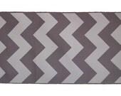 "3"" White Chevron Pattern on Grey grosgrain Ribbon 5 yards"
