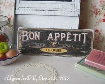 Bon Appetit Sign for Dollhouse