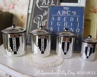 Retro Stainless Steel Kitchen Dollhouse Canisters 1/12 Scale