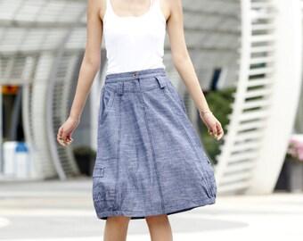 On Sale Size XS Graceful Bud Skirt Summer Skirt Linen Skirt in Blue - NC492-1