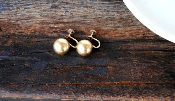 Antique Vintage Gold Earrings, Screw Back Krementz Signed Large Ball Designer Jewelry