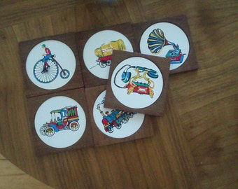 Vintage  Coasters with colourful Oldtimer Motives