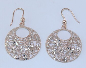 Reserved Sterling Silver Pink and White Flower Filigree RUFINA Earrings