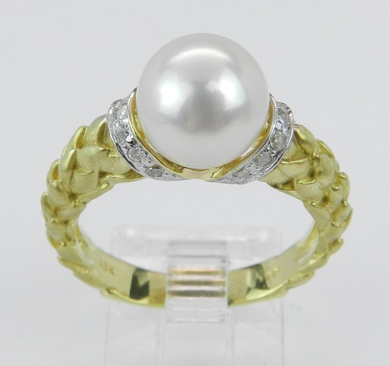 Diamond and Pearl Engagement Promise Ring 18K Yellow Gold Size 7.25