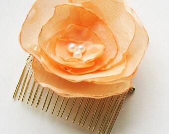 Pale Orange, Peach Organza Flower Haircomb, Bride, Bridesmaid, Flower Girl, or Any Occasion