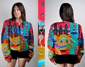 Vintage 80s Judith Roberts Mexican Milagros Applique Jacket with Lapis & Coins