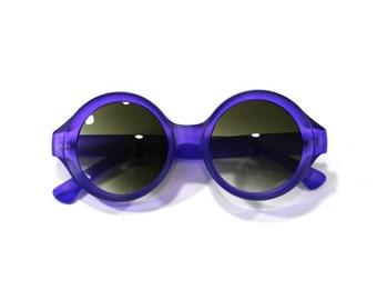 Circle Frame Retro Indented Matte Sunglasses
